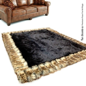 Designer Fur Throw Rug - Luxurious Faux Fur - Sable Brown Rectangle with Brown Ribbed Fox Border - Exclusive - Branded and Bonded - by Fur Accents