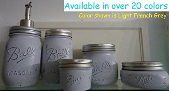 5 Piece Mason Jar Bathroom Organization Set - Painted Mason Jar Set - Mason Jars Soap Dispenser - Mason Jar Set - Grey Jars