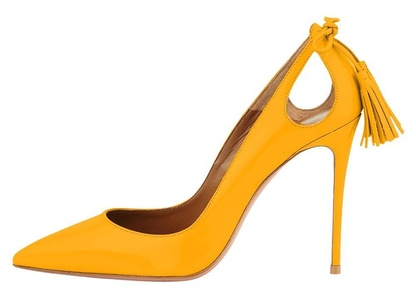 Maovii Women's Plus Size Tassel Stiletto High Heel Pointed Toe hollow out Shoes 15 M US Yellow Patent
