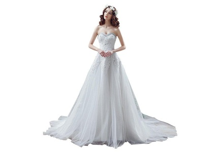 PuTao Women's Bridal Gowns Sweetheart Ankle Length Lace Beach Bridal Wedding Dresses US 08