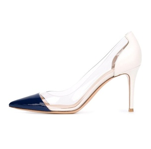 Eldof Womens High Heel PVC Pumps | 8CM 3inch pointy Cap Toe Transparent PVC Stilettos | Wedding Dress Event Pumps Shoes Blue Patent US10