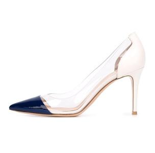 Eldof Womens High Heel PVC Pumps | 8CM 3inch pointy Cap Toe Transparent PVC Stilettos | Wedding Dress Event Pumps Shoes Blue Patent US10