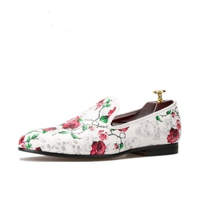 HI&HANN Skull and Flowers Prints Men's Loafer Shoes Slip-on Loafer Round Toes Smoking Slipper-8-Multi