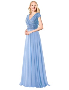 Favors Women's Sequin Sleeve Long Bridesmaid Dress Wedding Party Gown Blue 26W