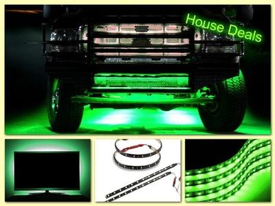Led Car Flexible Green 30cm Waterproof Light Strip GREEN (pack of 4) - House Deals