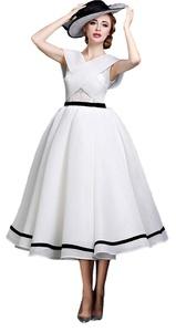Angel Formal Dresses Women's A-Line V Neck Tea Length Organza Prom Evening Wedding Dresses(12,White)