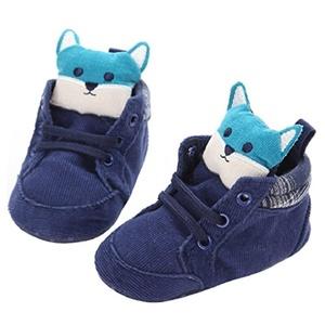 Muxika Newborn Baby Cartoon Prewalker Shoelace Toddler Non-slip Soft Sole Shoes