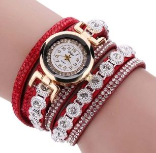 Shensee Women New Vintage Crystal Band Bracelet Quartz Analog Wristwatch Jewelry Watch,Red