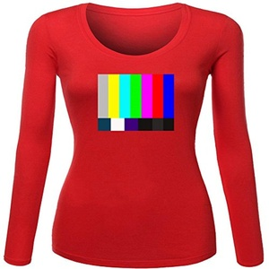 TV test pattern for Women Printed Long Sleeve Cotton T-shirt