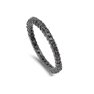 2MM Stackable Full Eternity Wedding Band Ring Round Black CZ Black Gold Plated 925 Sterling Silver