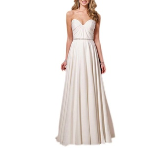 Aurora Bridal 2016 Satin Bridesmaid Dress Sweetheart Long Evening Dresses White 22W
