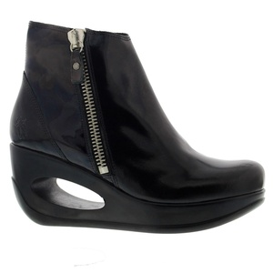 Fly London Womens Hulk 795 Patent Wedge Black Patent Leather Boots 40 EU