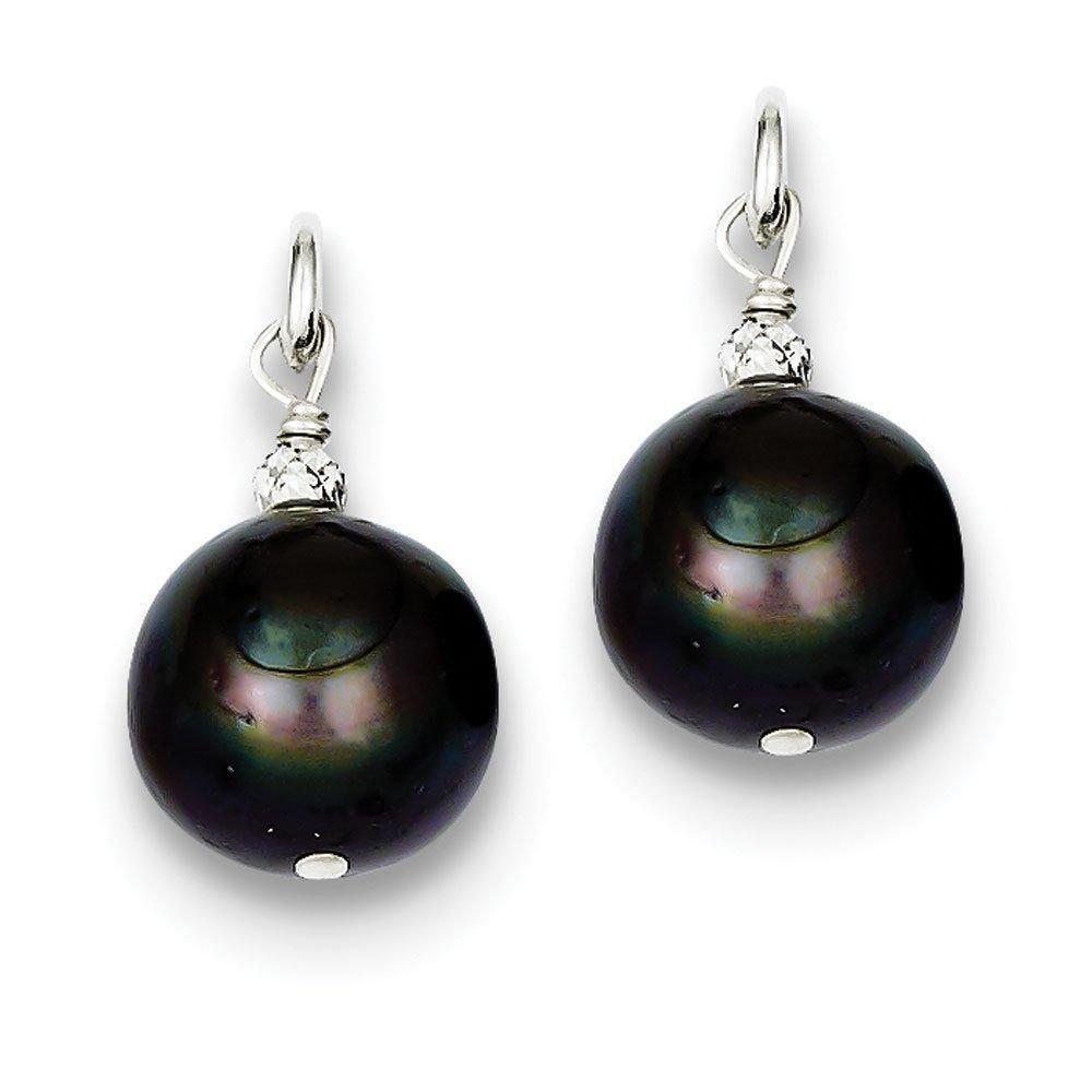 .925 Sterling Silver 19 MM Freshwater Cultured Peacock Pearl and Bead Hoop Earring Enhancers (No Earrings)