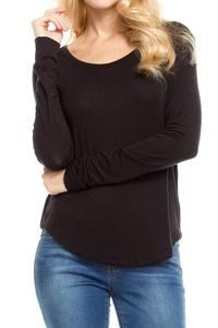 KLKD Women's Solid Round Neck Long Sleeve Top Black Medium