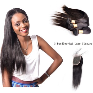 XCCOCO Straight Hair Bundles With Closure Silky Straight Lace Frontal with Bundles Peruvian Remy Straight Hair3 Bundles With 4X4 Lace Frontal Closure(Natural Color,20