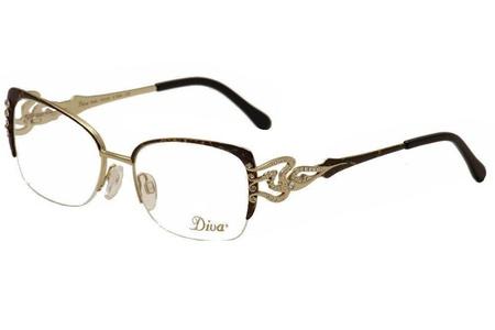 Diva Eyeglasses 5440 854 Brown Leopard Gold/Crystal Half Rim Optical Frame 53mm