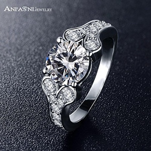 Slyq Jewelry Popular Fashion Platinum Plated Crystal Austrian Zircon Ring Shiny Noble Charms Wedding Ring CRI0297-B