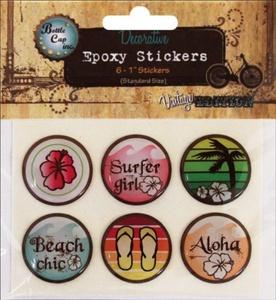 Vintage Collection Epoxy Stickers 1 6/Pkg-Surfer Girl by Bottle Cap