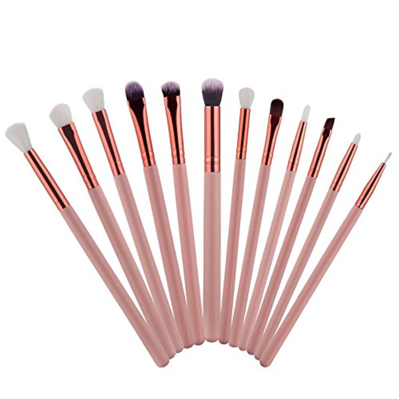 Baomabao 12Pcs Cosmetic Brush Makeup Brush Sets Kits Tools Pink