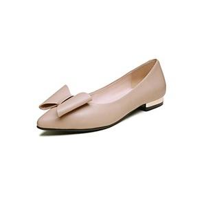 Eldof Women's Stack Heel Pointy Toe Beautiful Bowknot Flats Slip On Party Dress Shoes Beige US12