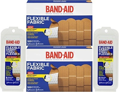 Band-Aid Adhesive Bandages, Flexible Fabric, All One Size 1 X 3 [With Bonus Travel Size 8 Ounce] (Pack of 2) by Band-Aid