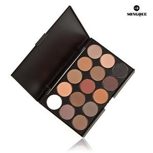 SONGQEE(TM) 15 COLOURS EYESHADOW PALETTE Matte Smokey Eye Effect Neutral Nude/White Highlight/Brown/Black/Chocolate (15 Color Eyeshadow #2) by SONGQEE(TM)