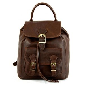 Leather Backpack For Women With Pocket And Adjustable Straps Color Dark Brown