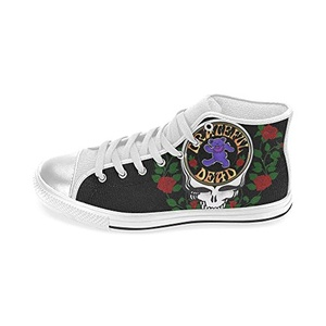 Aneozap Custom Grateful Dead Women's High-top Lace-Up Canvas Shoes Sneakers Casual Flats,White