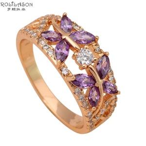 Cherryn Jewelry Amethyst Butterfly Gold Plated Fashion Jewelry Nickel Lead K Plating Crystal Ring 7.5 7 6 JR1636