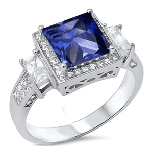 Halo Wedding Engagement Ring Princess Cut Simulated Tanzanite Baguette Round CZ 925 Sterling Silver