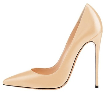 Maovii Women's Plus Size Patent Leather Stiletto Heel Pointed Toe Solid Formal Pumps shoes Multi Color Alternative 9.5 M US Apricot PU