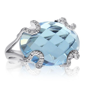 14k White Gold Blue Topaz and Diamond Fashion Ring