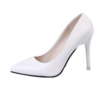Freerun Women's Dressy Slip-on Pointed-Toe Stiletto High Heel Pumps (6 B(M)US,whitegray)
