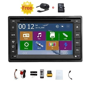 Double 2 Din Car Autoradio Headunit in Dash Stereo 6.2 Inch LCD Touch Screen DVD CD Player MP3/MP4/USB/SD/AM/FM Radio Bluetooth Audio GPS Navigation Free GPS Map Waterproof Backup Camera