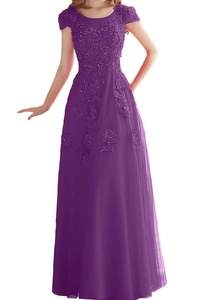 Avril Dress Exquisite Short Sleeves Evening Floor Length Applique Lace Birdesmaid Gown -6-Grape