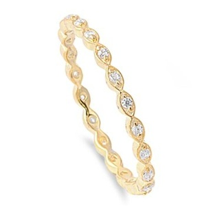 Yellow Gold Tone Full Eternity Band Sterling Silver Clear Cubic Zirconia Midi Knuckle Stackable Promise Ring Size 4