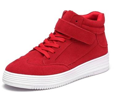 D2C Beauty Women's Platform Suede Lace Up Velcro Strap High Top Sneaker Shoes - Red 9 M US