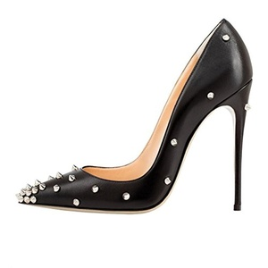 Eithy Women's Rivets Studded Stiletto High Heels Slip on Pointed Toe Dress Party Pumps 14 M US