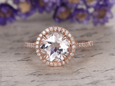 Solid 14K Rose Gold Band,Round Cut Topaz Engagement Ring,8mm White Gemstone,Promise,Bridal Ring,Wedding Ring,4 Claw Prongs