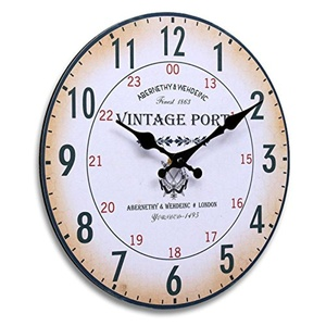 Round Wall Clock Wood Vintage Shabby Chic Antique Style For Home Office Decor
