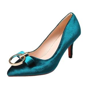 Show Shine Women's Metal Decorations High Heel Point Toe Bridal Shoes (10, blue)