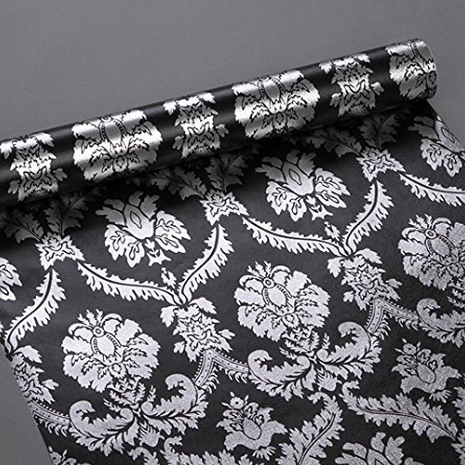 Online Store: Simplelife4u Silver Damask Contact Paper Decorative ...