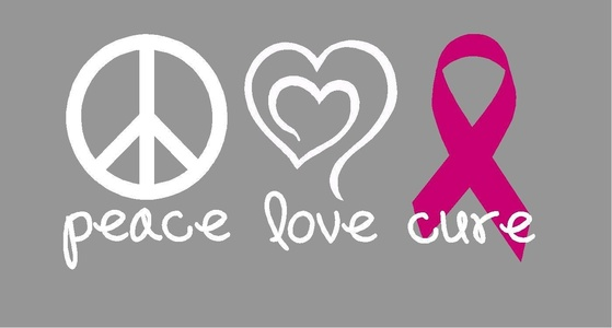 Peace, Love, Cure Breast Cancer Awareness Vehicle Decal
