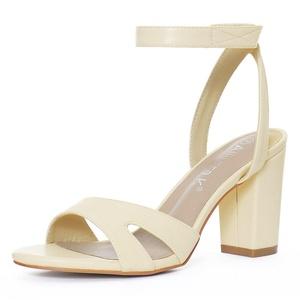 Allegra K Women Open Toe Block High Heels Ankle Strap Sandals Ivory (Size US 11)