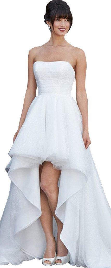 JoyVany Hi-Lo Beach Wedding Dresses Ruched A line Strapless Bridal Gowns White Size 12