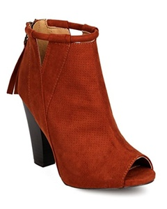 Qupid FE63 Women Faux Suede Peep Toe Perforated Cut Out Chunky Heel Bootie - whiskey (Size: 10)