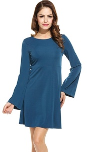 OURS Womens vintage sexy plain flare Back Hollow Out long sleeve tunic dress (XXL, Dark blue)