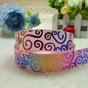 Midi Ribbon Rainbow Swirl Print Decorate Ribbon 7/8