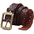 Bison Denim Hollow Flower Genuine Cowhide Leather Belt With Alloy Buckle for Men and Women (Red)