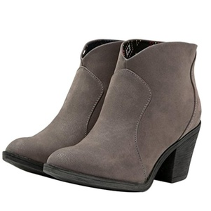 Blowfish Women's Schloss Round Toe Gray Fawn Ankle Boot 8 M